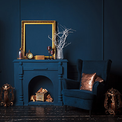 Blue Fireplace